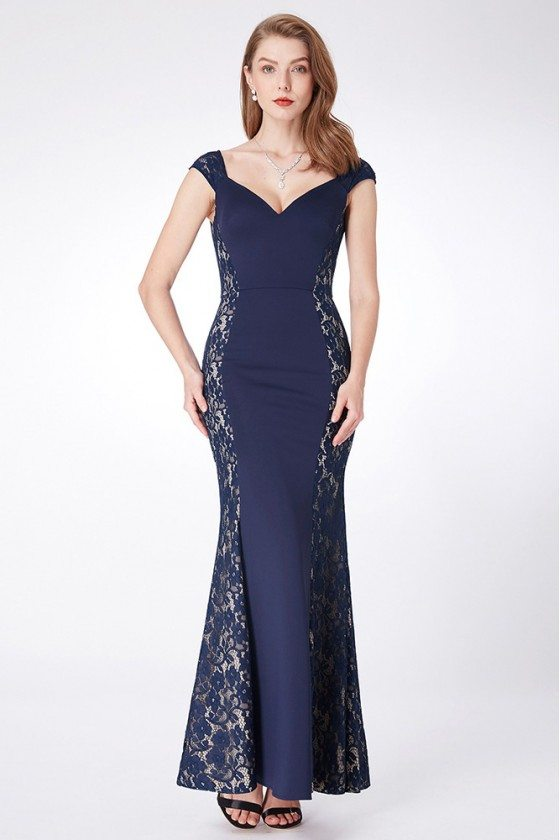 Navy Blue Mermaid Lace Evening Dress Long With Sweetheart