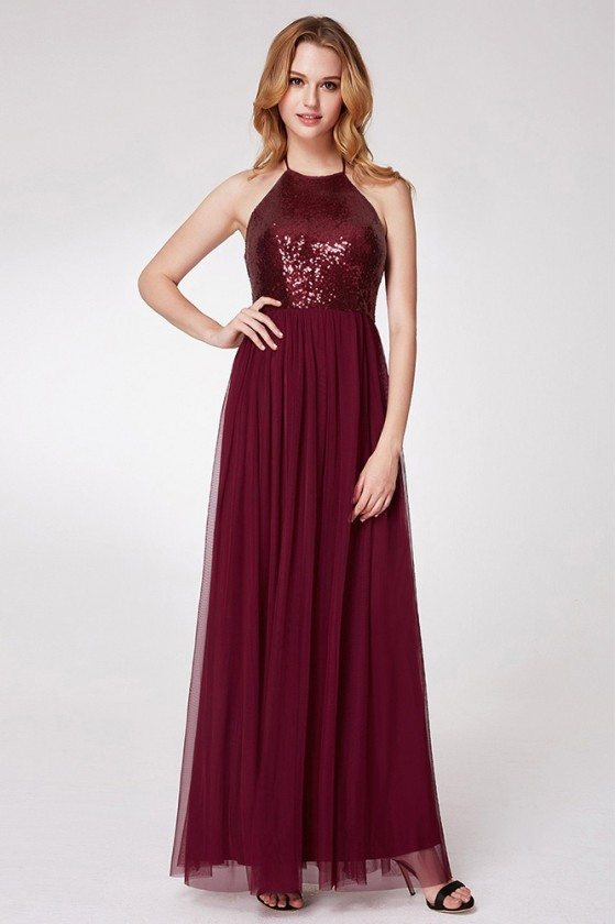 Burgundy Long Halter Formal Gown With Sequin Bodice