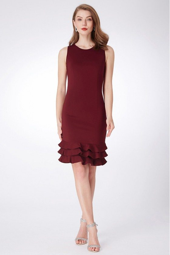 Burgundy Short Layered Formal Dress For Woman