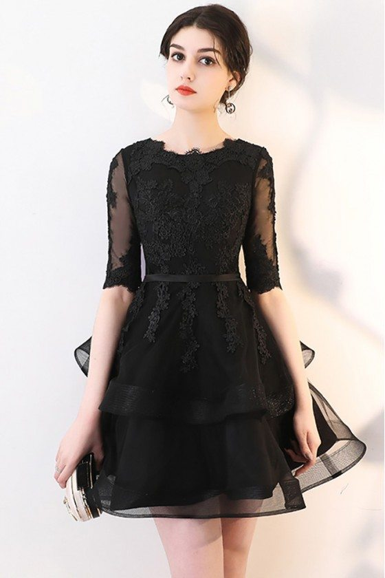 Black Lace Short Homecoming Party Dress with Ruffles Half Sleeved