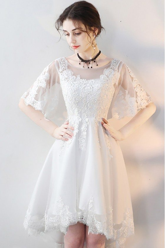 White Lace Short Party Dress High Low with Sleeves