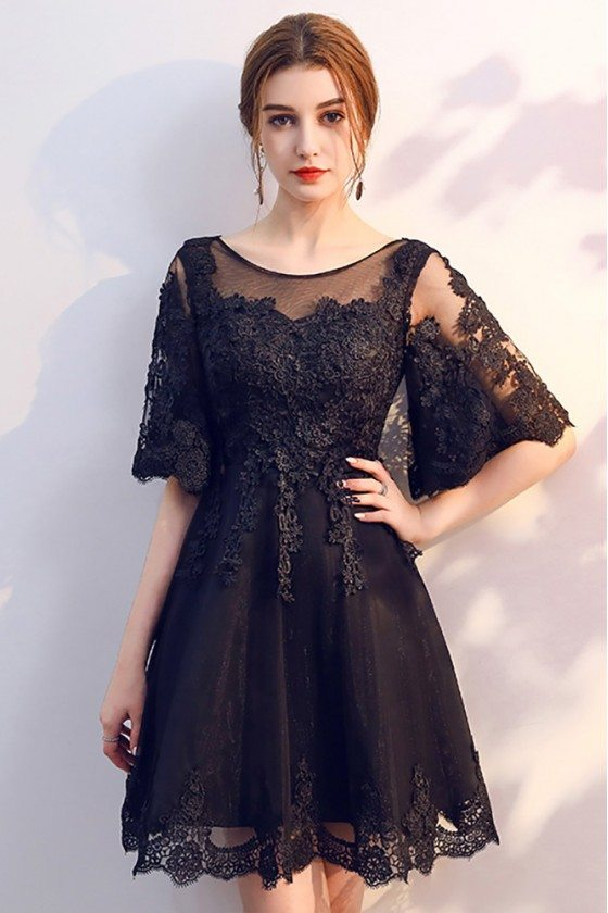 Black Lace Short Homecoming Dress Sheer Neckline with Sleeves