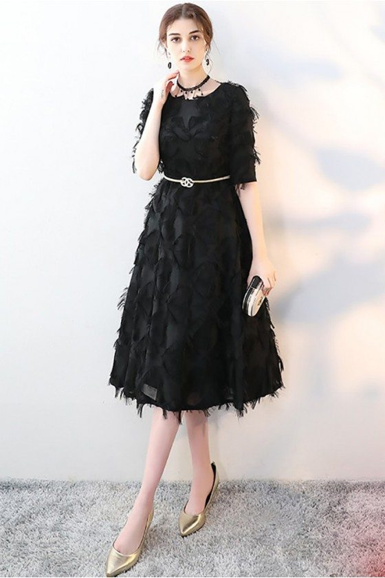 Unique Black Tea Length Party Dress Sleeved with Feathers