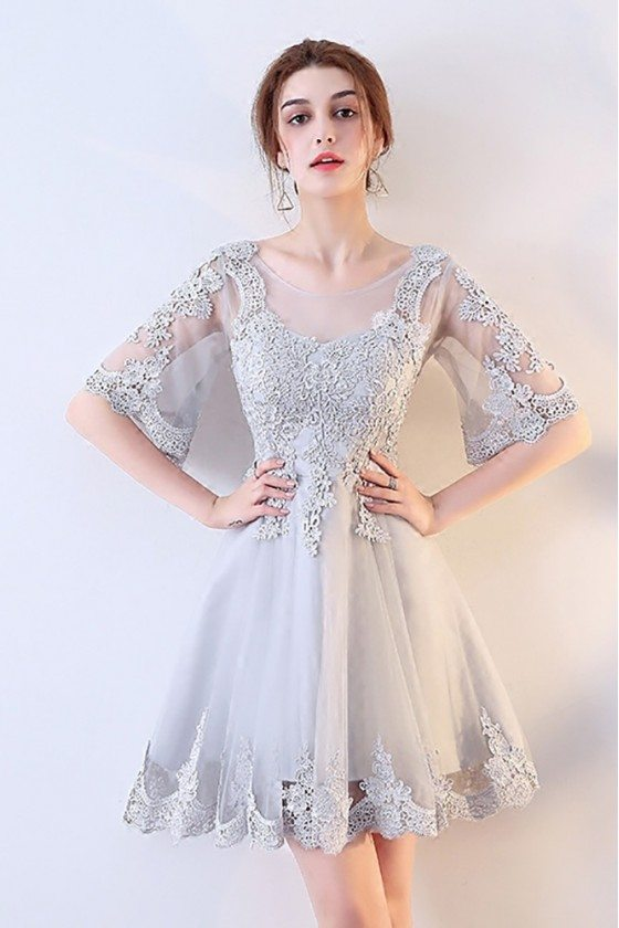 Grey Lace Short Tulle Party Dress with Sleeves