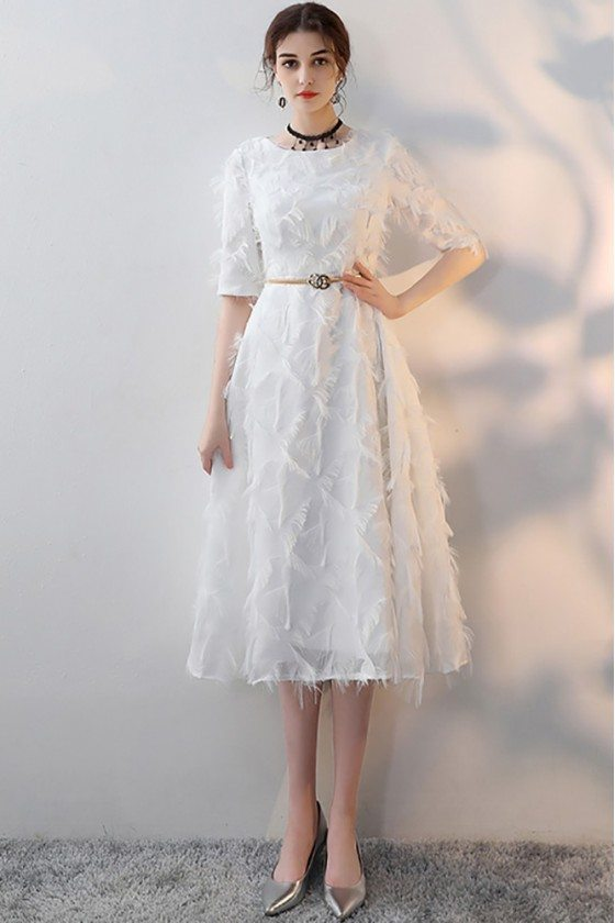White Feathers Midi Length Party Dress with Sleeves
