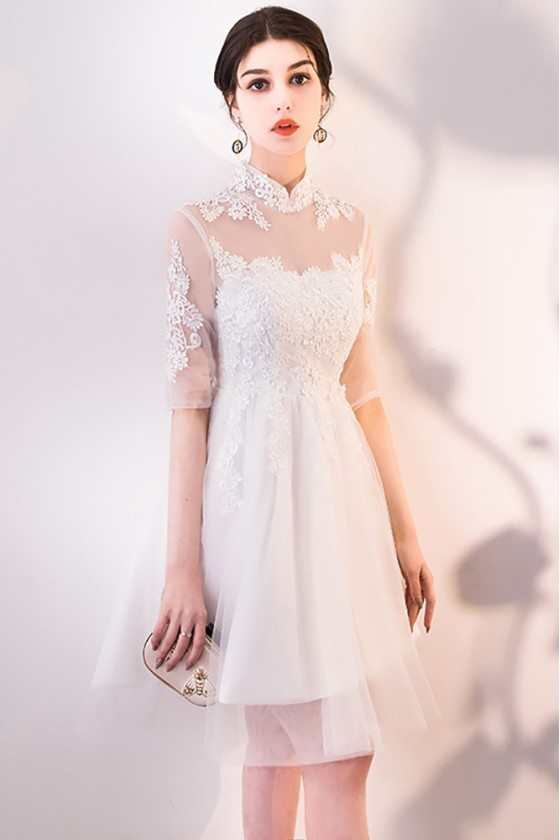 Gorgeous White Lace and Tulle Homecoming Dress with Sleeves
