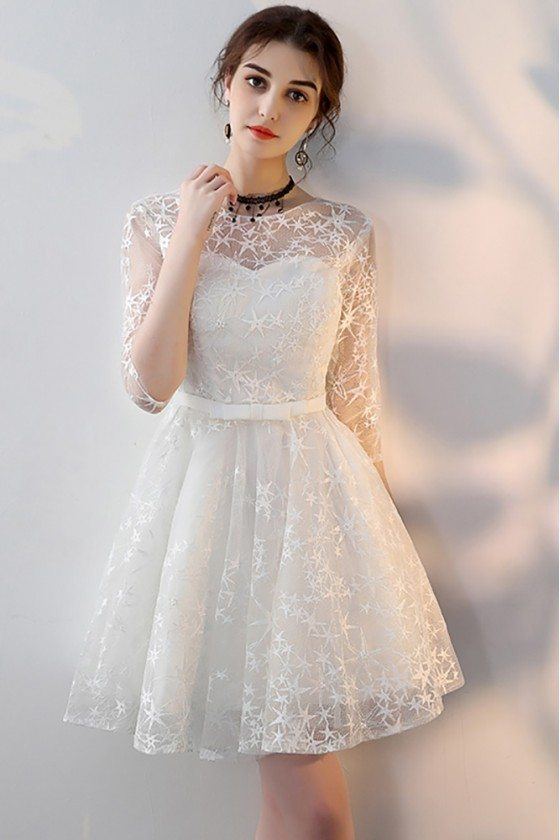 White Embroidered Aline Short Homecoming Party Dress with Sleeves