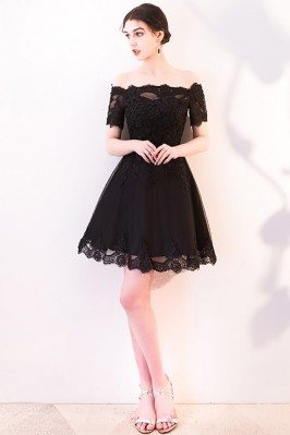Short Black Lace Homecoming...
