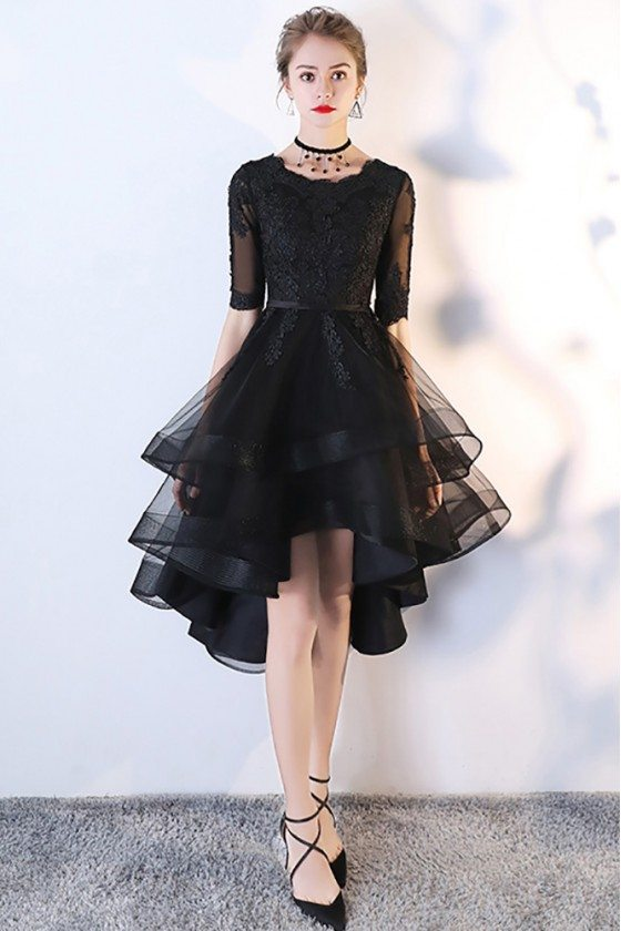 Black Tulle Homecoming Prom Dress with Lace Sleeves
