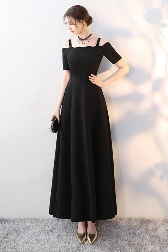 Simple Maxi Long Black Formal Dress with Cold Shoulder