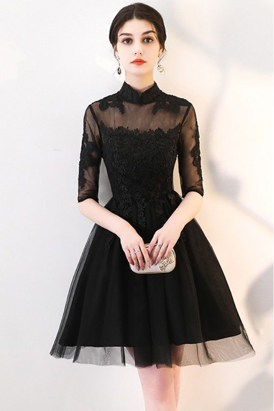 Little Black Lace Collar Homecoming Dress with Sheer Sleeves