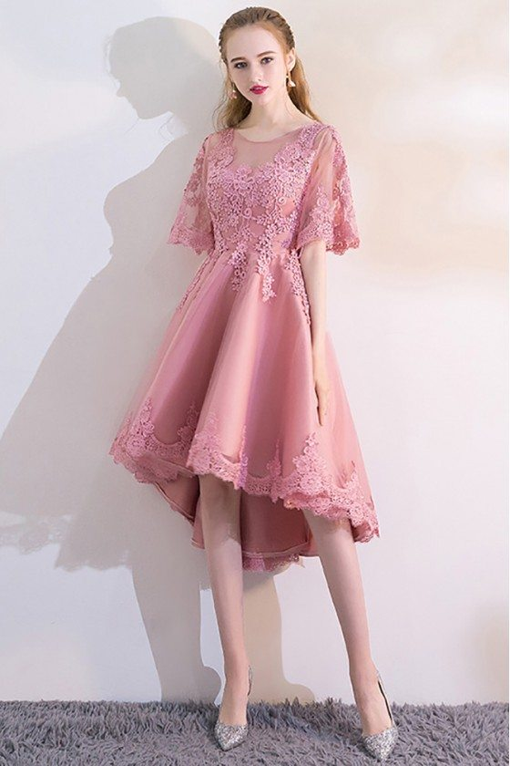 Pink Lace High Low Homecoming Dress with Puffy Sleeves