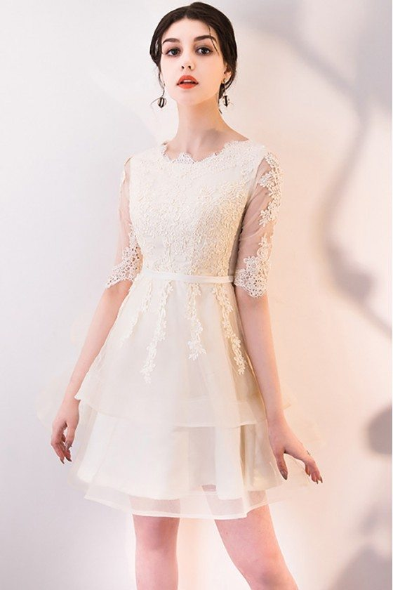 Light Champagne Lace Short Party Dress Tulle with Sleeves