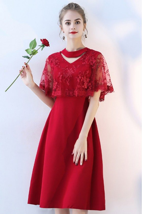 Burgundy Red Lace Knee Length Party Dress Cape Sleeved