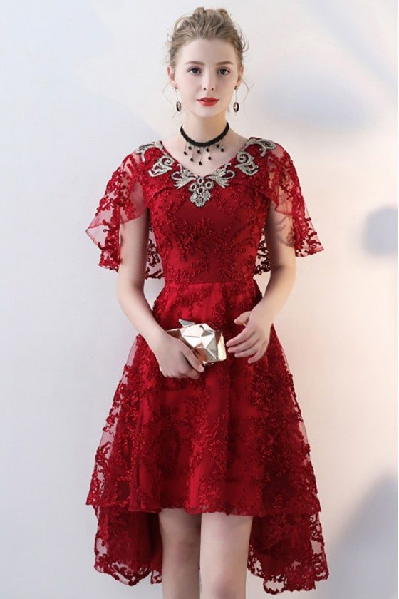 Burgundy Red Lace Short Party Dress Vneck with Cape Sleeves