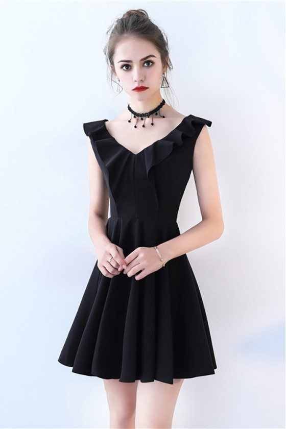 Little Black Flare Homecoming Party Dress V-neck