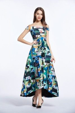 Off Shoulder Floral Print Long Party Dress