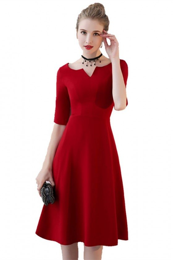 Simple Burgundy Aline Knee Length Party Dress with Sleeves