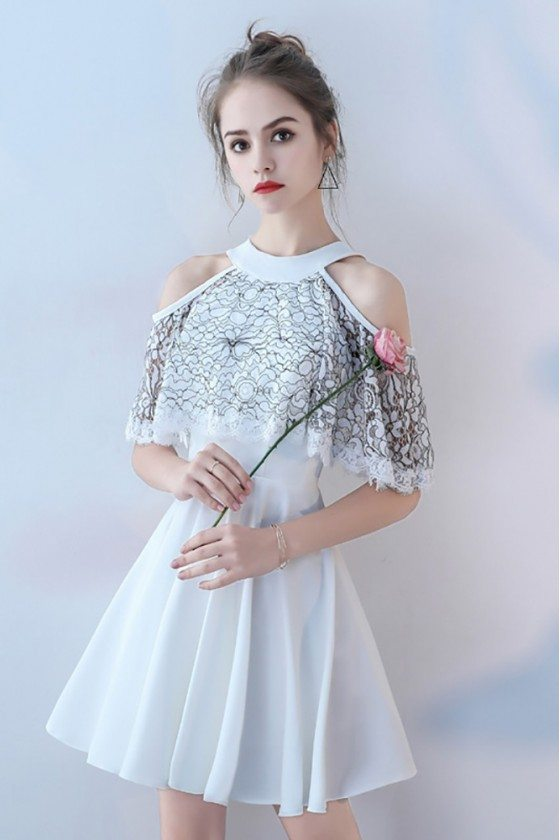 White Short Halter Homecoming Party Dress Cold Shoulder