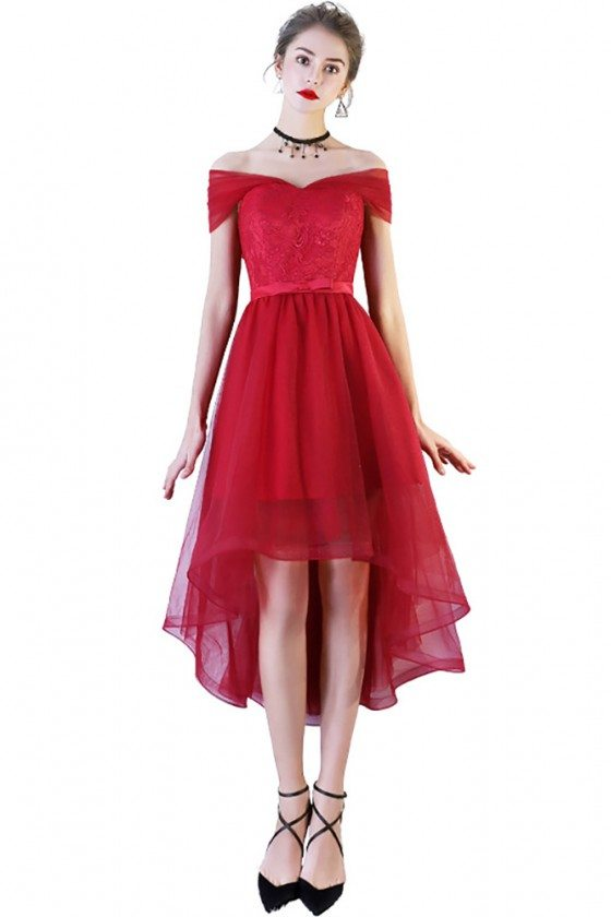 Red Lace Tulle Homecoming Party Dress High Low with Off Shoulder