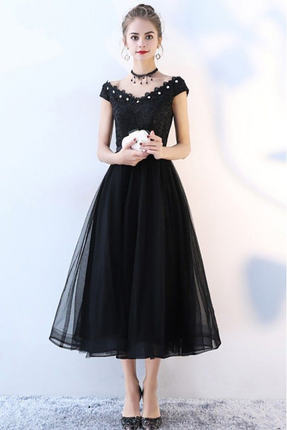 Black Tulle Party Dress Tea Length with Cap Sleeves