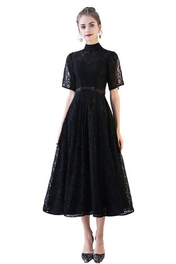 Black Lace High Neck Aline Party Dress with Sleeves