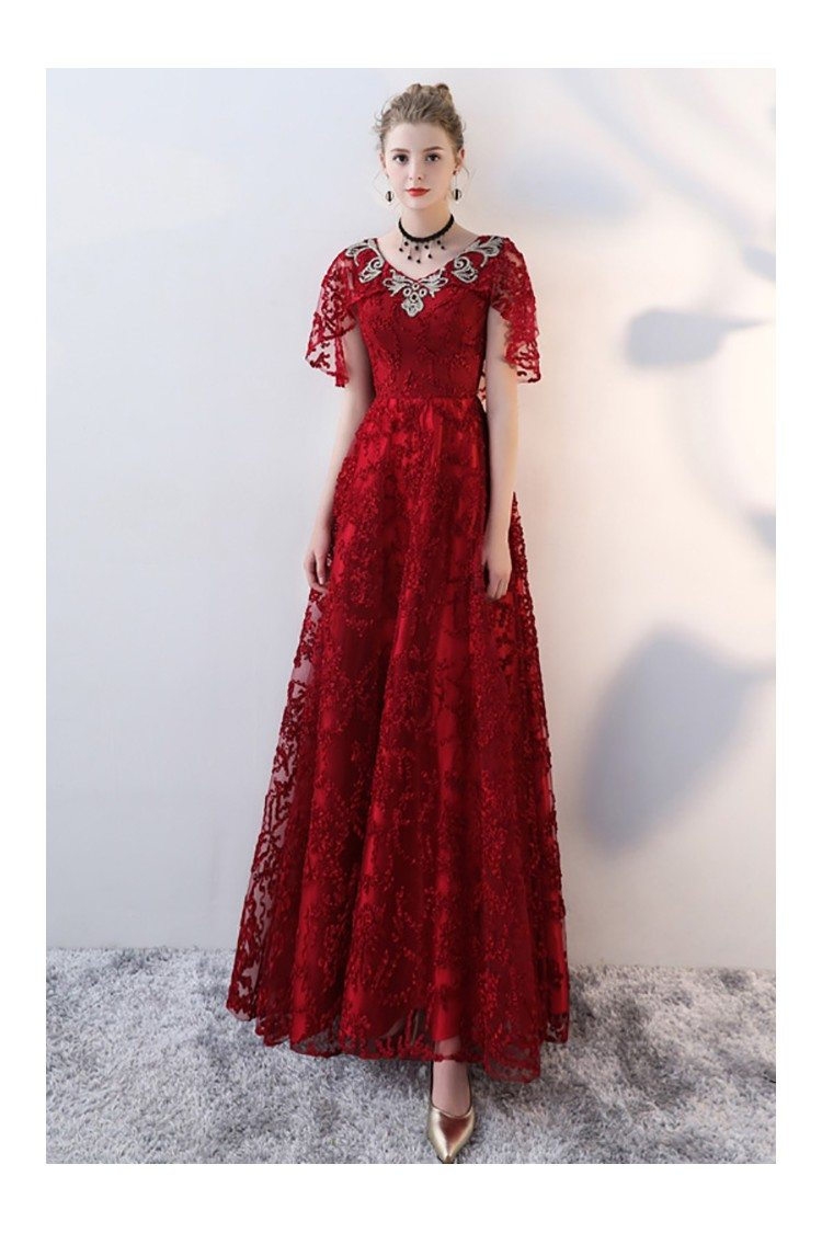 Burgundy Long Red Lace Formal Dress Withcape Sleeves 92