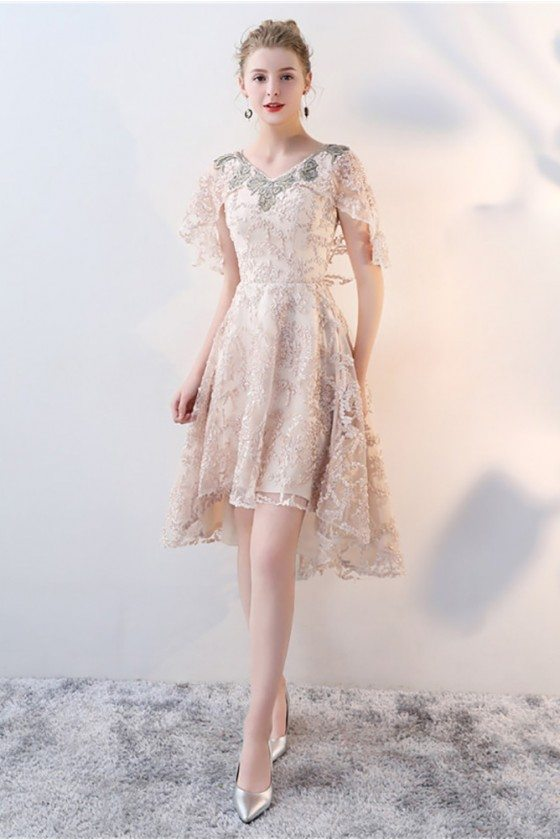 Elegant Champagne Lace Formal Party Dress High Low with Cape