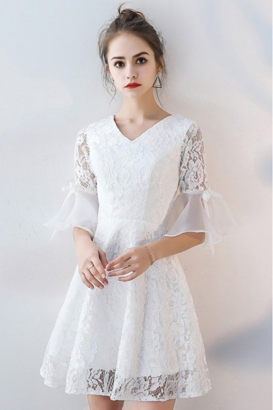 White Lace Short Homecoming Dress Aline V-neck with Sleeves