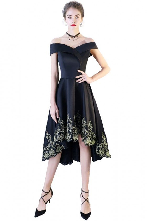 Black Off Shoulder Prom Homecoming Dress High Low with Embroidery