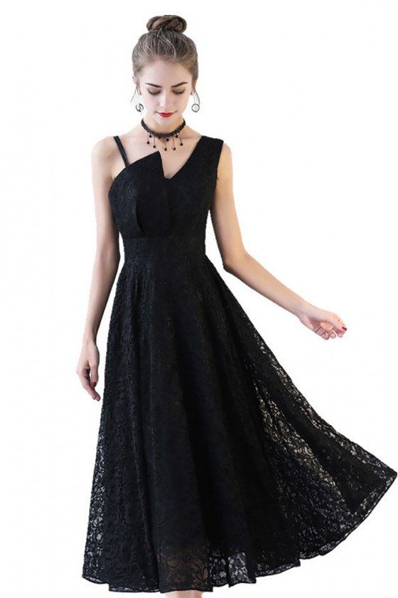 Aline Full Lace Tea Length Black Formal Dress Sleeveless
