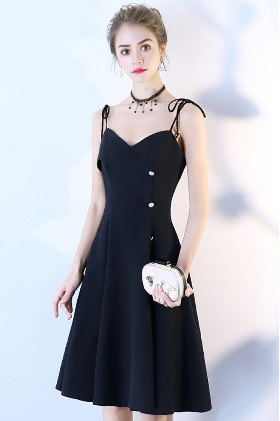 Black Short Dress Aline with Buttons Spaghetti Straps