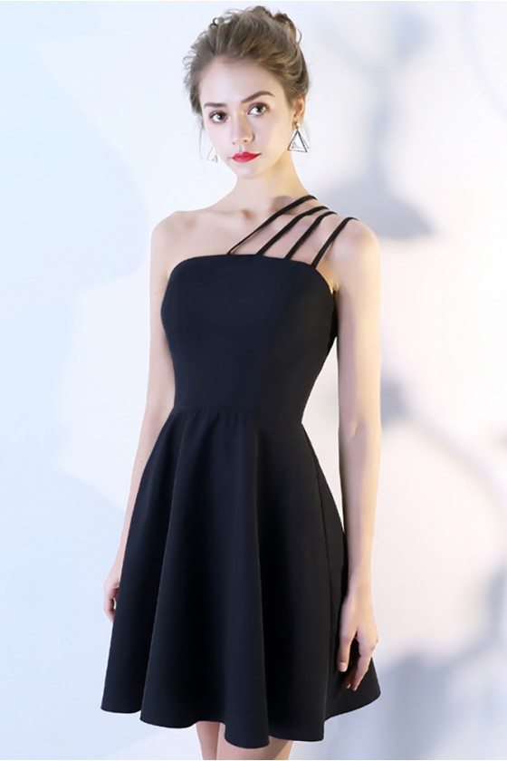 Little Black Homecoming Dress Short with Multi Straps