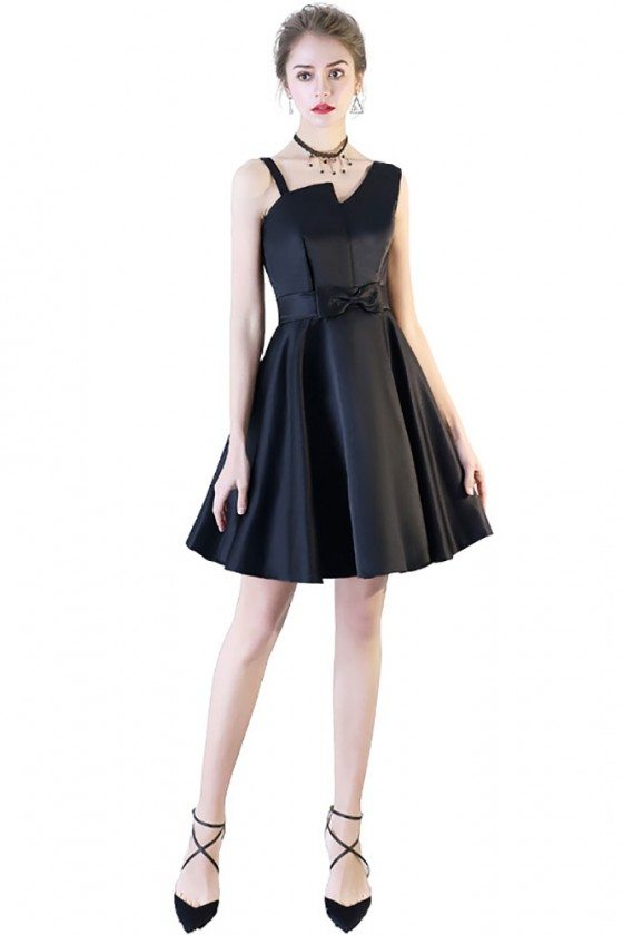 Black Aline Short Party Dress for Homecoming with Irregular Strap