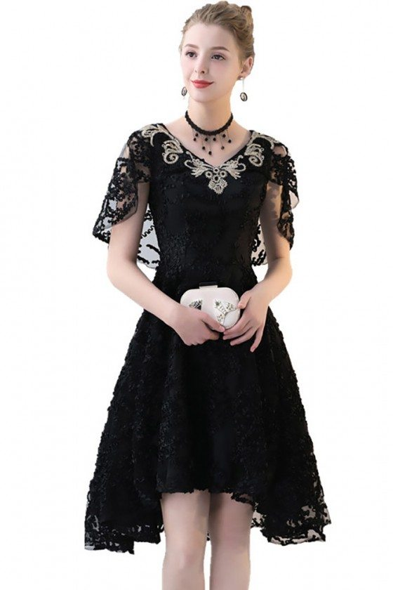 Black Lace High Low Homecoming Dress Embroidered Vneck