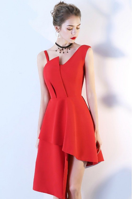 Red Asymmetrical Simple Homecoming Dress with Straps