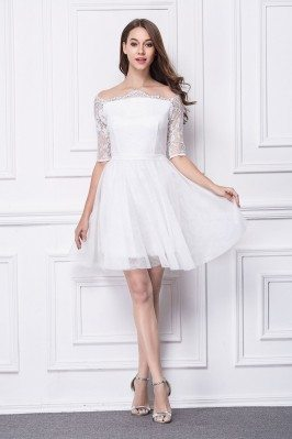 Little White Lace Off Shoulder Short Dress