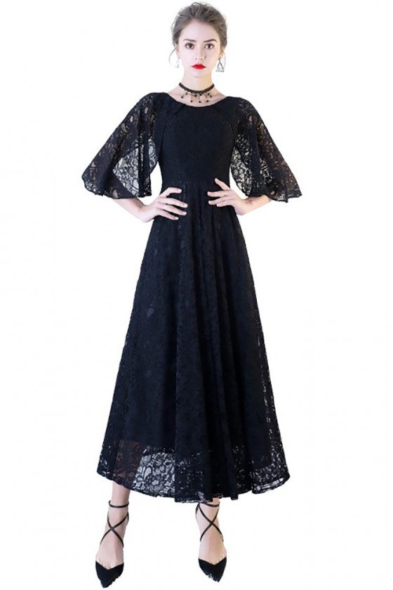 Black Lace Maxi Formal Dress with Cape Sleeves