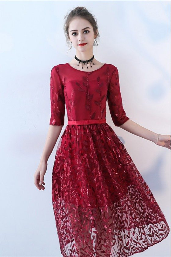 Sequined Leaf Pattern Homecoming Dress with Sleeves