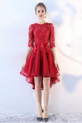 High Low Red Lace Prom...