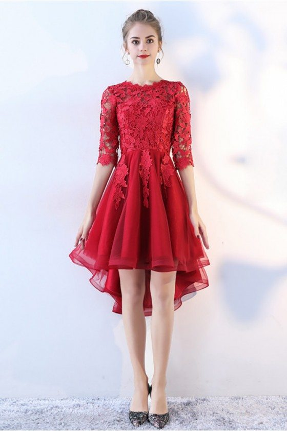 High Low Red Lace Prom Homecoming Dress with Lace Sleeves