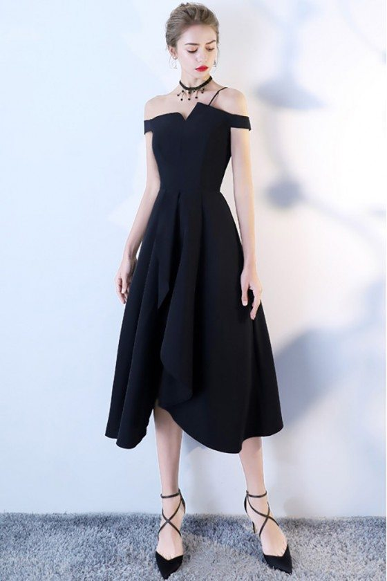 Tea Length Black Formal Party Dress Off Shoulder