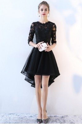 Lace Half Sleeve High Low...