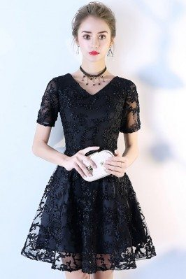 Black Aline Lace V-neck...
