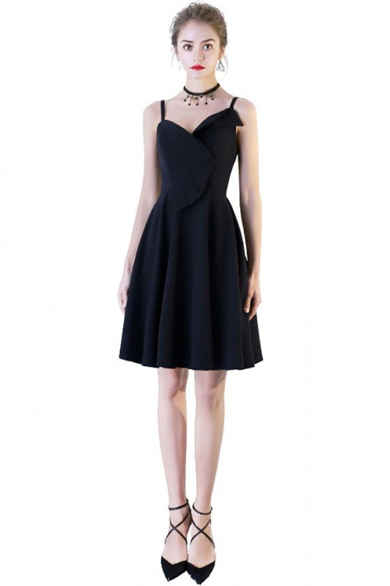 Simple Chic Black Short Homecoming Dress with Wrap