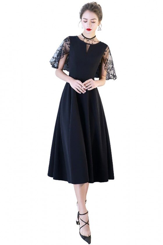 Chic Black Midi Party Dress Aline with Cap Sleeves