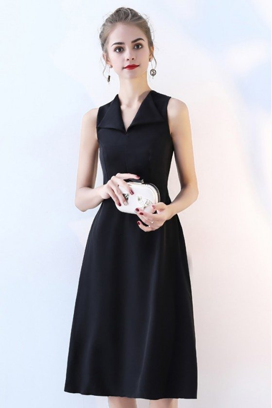 Black V-neck Simple Party Dress Knee Length
