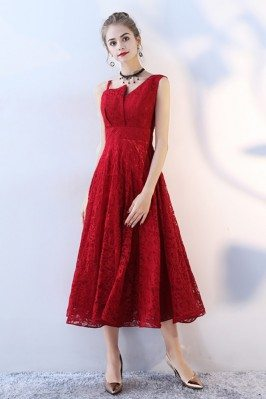 Red Tea Length Lace Party...
