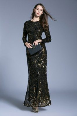 Sparkly Black Sequins Sheath Long Evening Dress