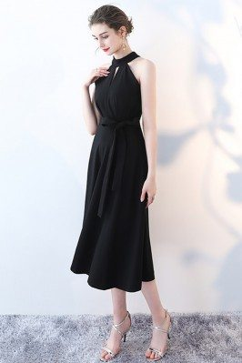 Elegant Tea Length Black...